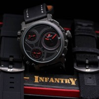 JAM TANGAN SWISS ARMY INFANTRY BLACK RED