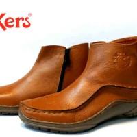 sepatu casual semi boot formal kerja kantor kickers zipper kulit asli