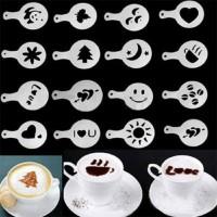 Jual 16 pcs cetakan kopi latte cappuccino art coffee barista Spray mold Murah