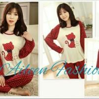 harga Baju Tidur Piyama Lengan Panjang Cantik Wanita Cute Cat Maroon Tokopedia.com