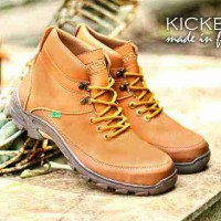 SEPATU PRIA KICKERS TREKING TAN MADE IN FRANCE 100% BOOTS SAFETY