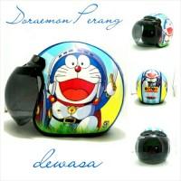 harga Helm Bogo Retro SNI Kulit Motif Doraemon Perang + Kaca Bogo Ori Tokopedia.com