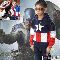 JAKET ANAK CAPTAIN AMERICA BLUE AND NAVY JACKET SWEATER MANTEL HADIAH