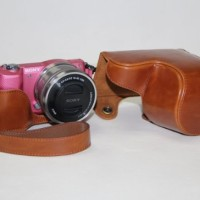 Jual Leather Case For Sony Alpha A5000/A5100 - Cokelat Murah