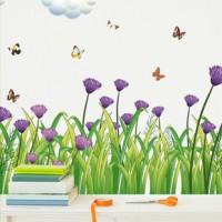 WALLSTICKER/WALL STIKER 50X70-SK7005-GRASS N PURPLE FLOWER