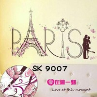 Jual WALLSTICKER/WALL STIKER   60X90-SK9007-ROMANTIC PARIS Murah