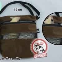 Travel Bonding Tas Pouch Sugar Glider Cokelat Polos (Mini Size)