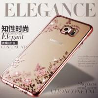 Flower Softcase Samsung galaxy S6 edge plus ( transparan motif bunga )