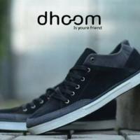 Sepatu Pria ORIGINAL DHOOM Slipon Evos Black Canvas