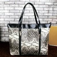 tas import korea shopper tote bag big besar totte snake skin ular