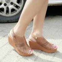 harga Sepatu Wanita Wedges Laser Tali Coklat Tokopedia.com