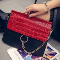 tas fashion import hitam merah promo selempang