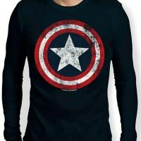 Jual Kaos Superhero Captain America Shield Lengan Panjang Murah