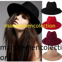topi fedora lebar hitam polos besar pria wanita artis zorro cowboy 831ded7b3c