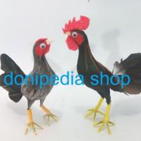 Sepasang Ayam Jantan & Betina ~ Miniatur Boneka Ayam
