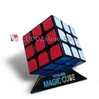 Rubik 3x3 BLACK base Anti Pop Out + STAND cocok utk SPEED round edge