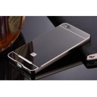 Jual Aluminium Bumper with Mirror Back Cover Xiaomi Mi4i/4c-Black Murah
