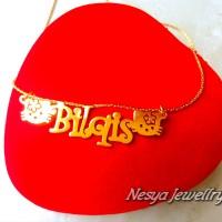 Kalung Nama Lapis Emas Font Hello kitty