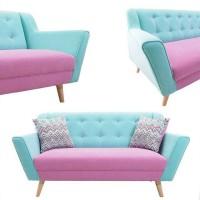 Sofa retro panjang pink blue