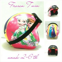 Helm Anak 2-6 th Motif Frozen Twin Pink + Kacamata