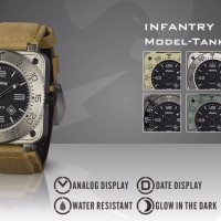 INFANTRY Mens Date Analog Wrist Watch Luminous Tactical Military Sport