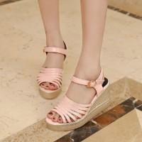 harga Sepatu Heels Wedges Wanita Cantik R57 Pink Tokopedia.com
