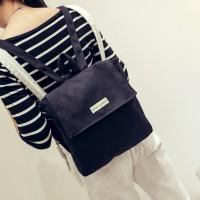 Jual tas ransel kotak canvas korea square bag girlfriends backpack bta091 Murah