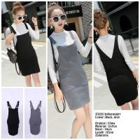 harga Baju Import Rok Gantung Basic Overall Jumpskirt J783510 - Black/Grey Tokopedia.com