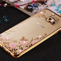 Casing Cover HP Samsung S5 S6 S6 Edge S7 S7 Edge Flower Diamond Case