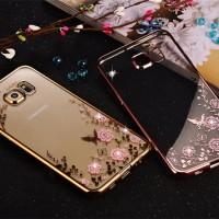 Casing Cover HP Samsung S5 S6 S6 Edge S7 S7 Edge Flower Diamond Case