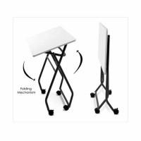 harga Folding Table Logam Putih dan Grey / Meja Lipat Roda Tokopedia.com