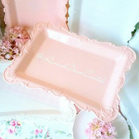 Nampan Pink Embosed Rose Shabbychic Dekorasi Rumah Vintage