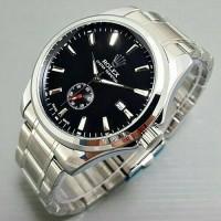 Jam Rolex Otomatis Rantai Silver Plat Hitam KW SUPER