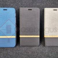 harga Stripe Leather Flip Case Book Cover - Alcatel Flash Plus 2 Tokopedia.com
