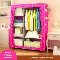 MURAH!!! Lemari pakaian pink sunflower(portable,bongkar pasang)..