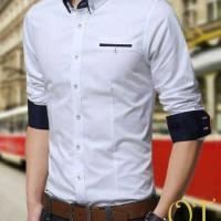Jual Kemeja Putih Pria Slim Fit Lengan Panjang XL [MR white xl OT] Murah