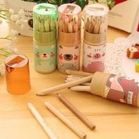 Set 12 Pensil Warna + Rautan Dalam Tabung Motif Beruang