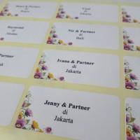 Jasa cetak/print Nama Label Undangan Bermotif