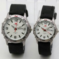 Jam Tangan Murah Couple Canvas Swiss Army Tanggal Hari Kw Super