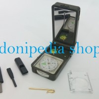 Kompas 10 in 1 + Senter LED + Flint + Peluit + Lup ~ Survival Compass