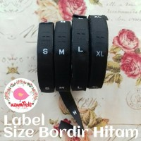 label size bordir woven HITAM label ukuran baju