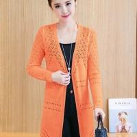 jaket/blazer/cardigan model elegant batik pink orange trendy impor