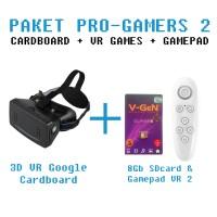 PAKET MURAH: Google Cardboard 3D VR + VR GAMES 8GB + GAMEPAD VR 2