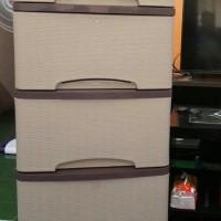 Jual lemari pakaian murah / lemari plastik motif rotan (putih) Murah