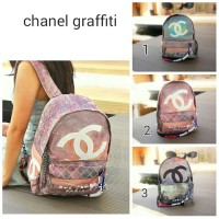 TAS RANSEL CHANEL GRAFFITI KANVAS