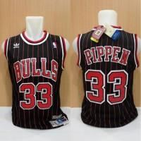 Jersey Basket Swingman Nba Bulls Classic Scottie Pippen Hitam Garis