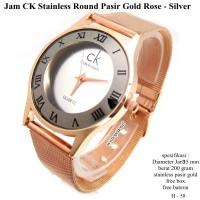 jam tangan wanita CK stainless round pasir gold rose silver fullset