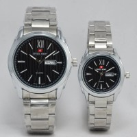 JAM TANGAN SWISS ARMY COUPLE DATE DAY SILVER BLACK KW SUPER
