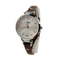 Fossil ES3060 Jam Tangan Wanita Strap Leather Silver Coklat