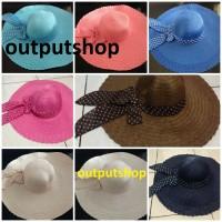 topi pantai floppy hat import anyaman lebar setengah meter